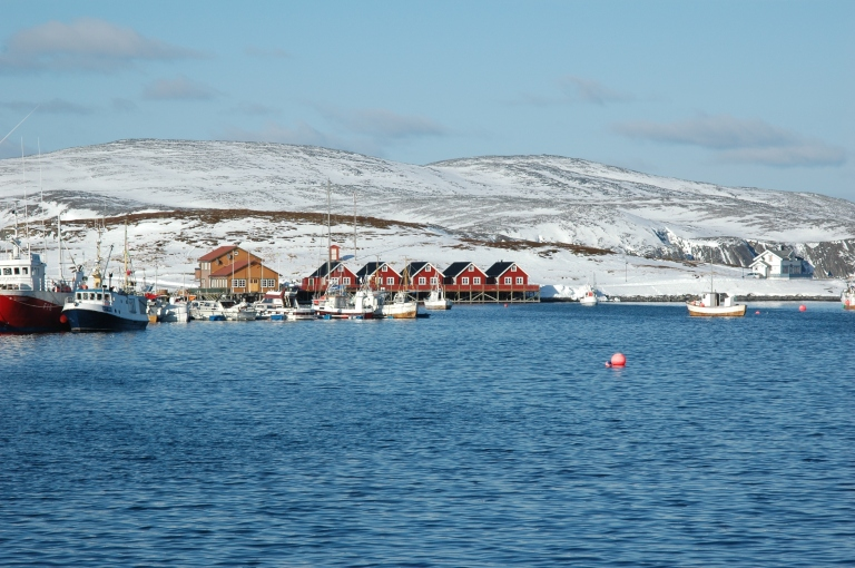 Our hostel in Mehamn, as seen from the sea!